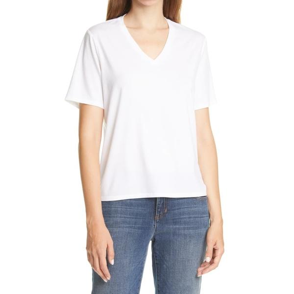 エイリーンフィッシャー レディース Tシャツ トップス V-Neck T-Shirt White