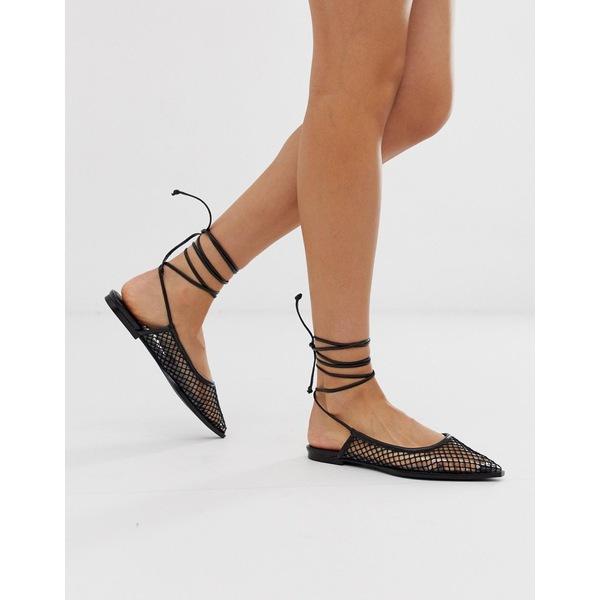 エイソス レディース サンダル シューズ ASOS DESIGN Lucid mesh tie leg ballet flats in black Black