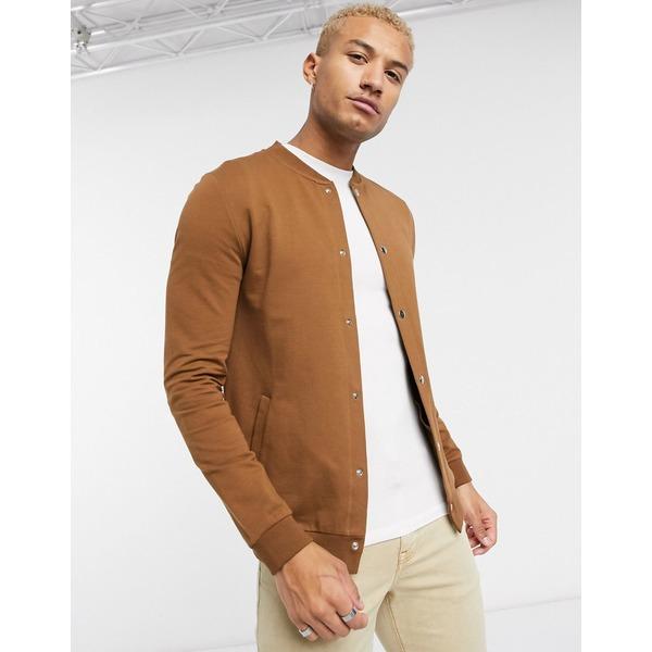 エイソス メンズ ジャケット&ブルゾン アウター ASOS DESIGN muscle jersey bomber jacket with poppers in brown Daschund