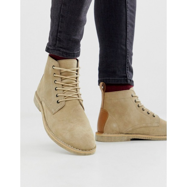 エイソス メンズ ブーツ&レインブーツ シューズ ASOS DESIGN desert chukka boots in stone suede with leather detail Stone