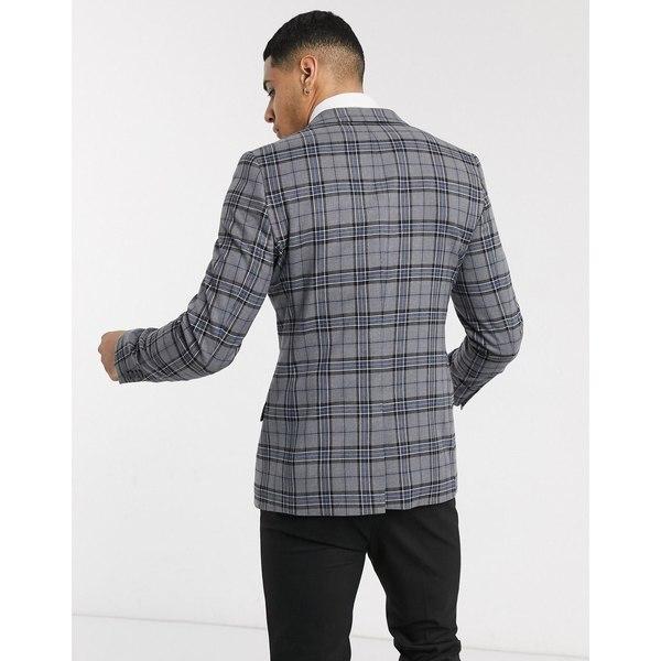 エイソス メンズ ジャケット&ブルゾン アウター ASOS DESIGN wedding super skinny check blazer in gray Gray