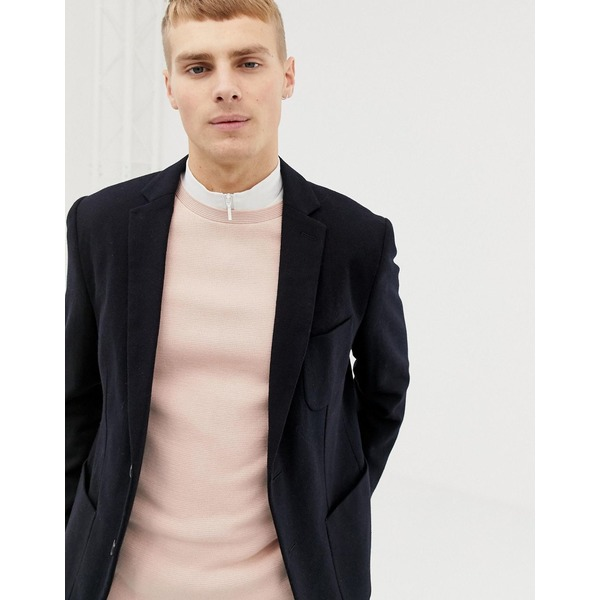 セレクテッドオム メンズ ジャケット&ブルゾン アウター Selected Homme slim fit patch pocket blazer with recycled wool Dark sapphire