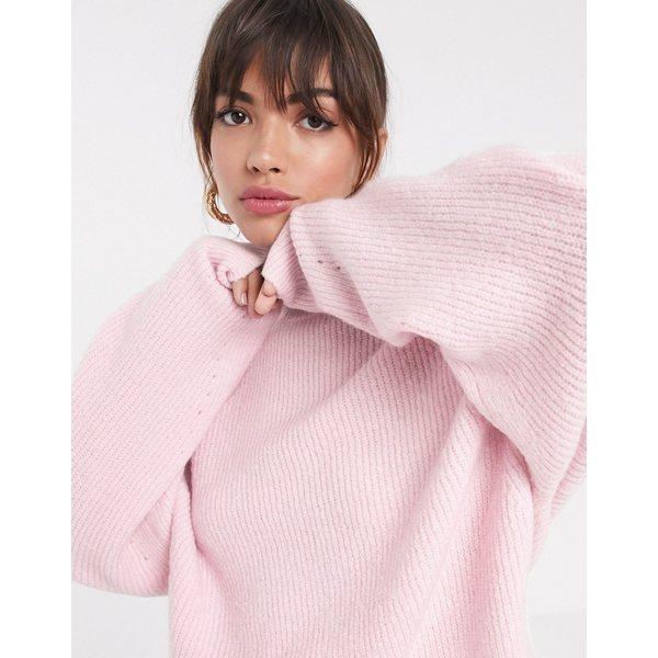 エイソス レディース ニット&セーター アウター ASOS DESIGN fluffy sweater with balloon sleeve Pale pink