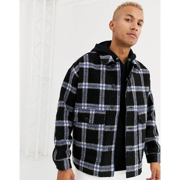 エイソス メンズ ジャケット&ブルゾン アウター ASOS DESIGN faux wool jacket in blue check Blue