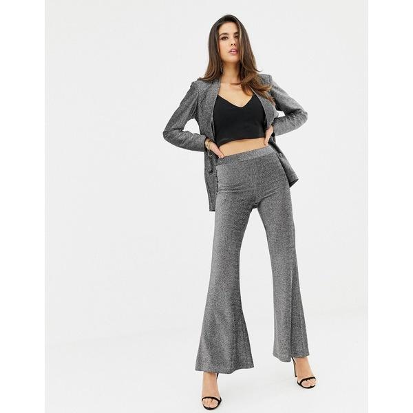 ラビッシュアリス レディース カジュアルパンツ ボトムス Lavish Alice metallic knit flare pants in silver Silver