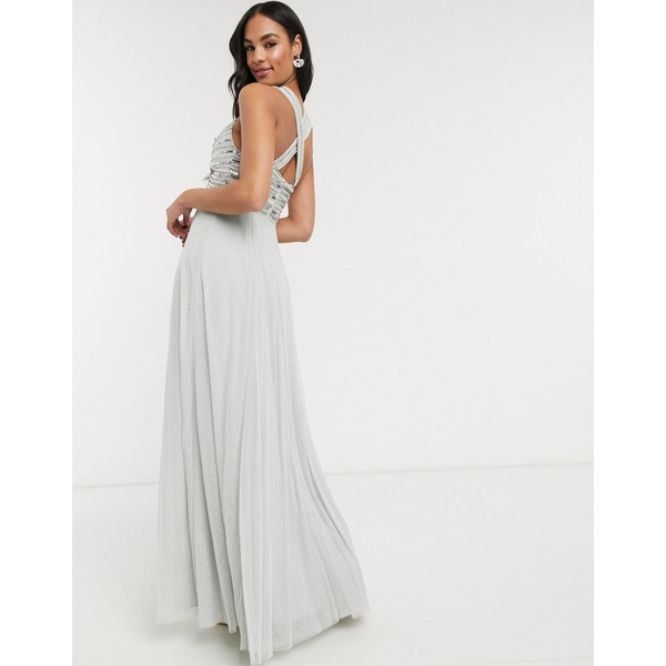 エイソス レディース ワンピース トップス ASOS DESIGN linear embellished bodice maxi dress with tulle skirt Gray