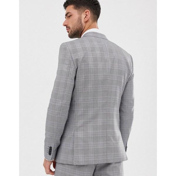 リバーアイランド メンズ ジャケット&ブルゾン アウター River Island wedding slim suit jacket in gray check Gray
