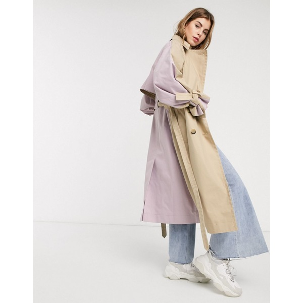 エイソス レディース コート アウター ASOS DESIGN color block tie sleeve trench coat in stone Stone