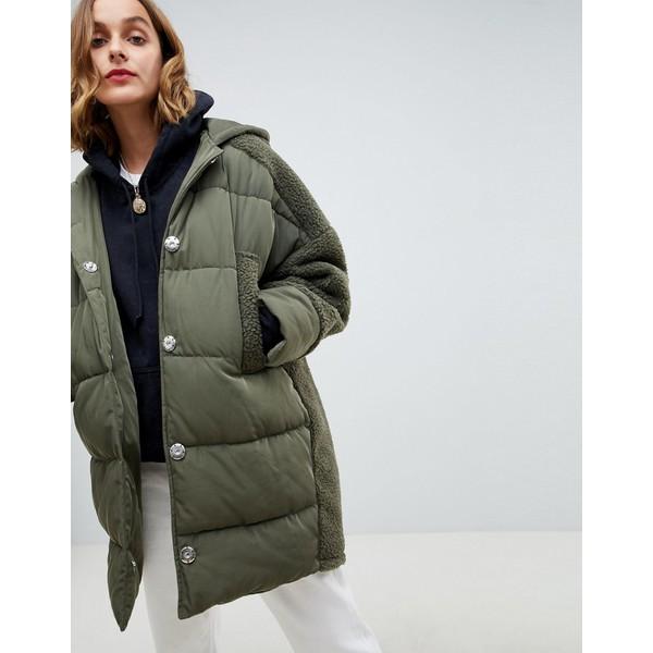 エイソス レディース ジャケット&ブルゾン アウター ASOS DESIGN borg paneled padded jacket Khaki