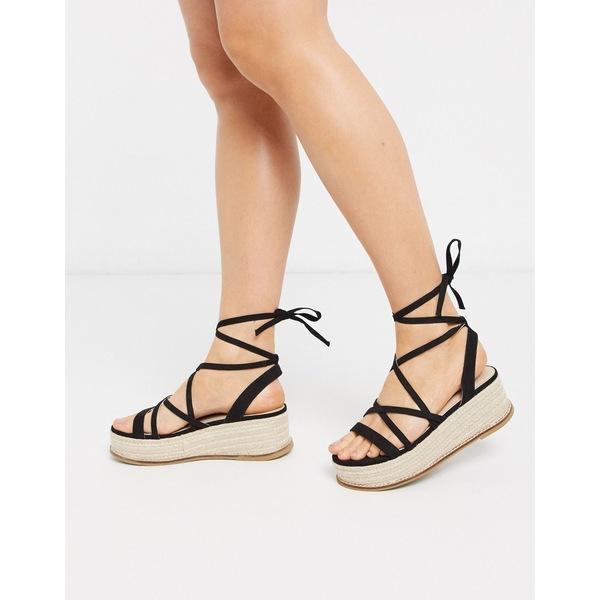 エイソス レディース サンダル シューズ ASOS DESIGN Tabby flatform tie leg sandals in black Black