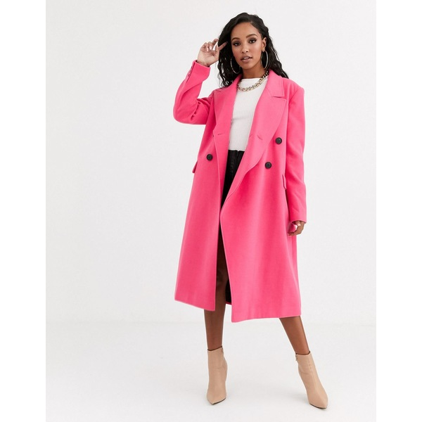 エイソス レディース コート アウター ASOS DESIGN asymmetric front formal coat in pink Pink