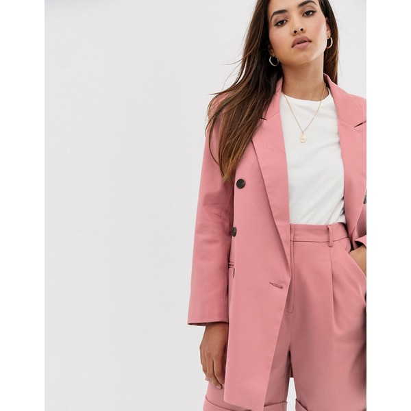 エイソス レディース ジャケット&ブルゾン アウター ASOS DESIGN oversized double breasted dad suit blazer Dark blush