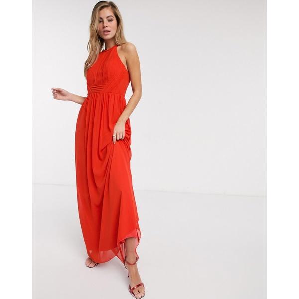リトルミストレス レディース ワンピース トップス Little Mistress pleat chiffon maxi dress in tangerine Orange