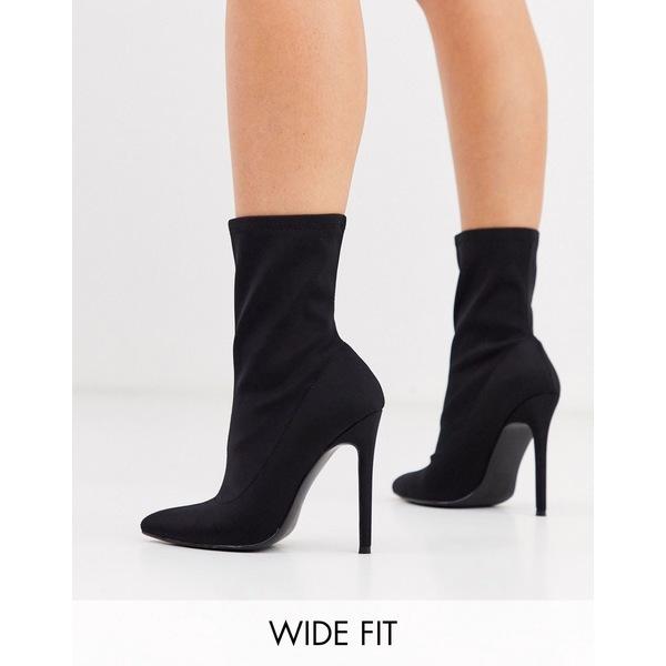 エイソス レディース ブーツ&レインブーツ シューズ ASOS DESIGN Wide Fit Esmerelda high heeled sock boots in black Black
