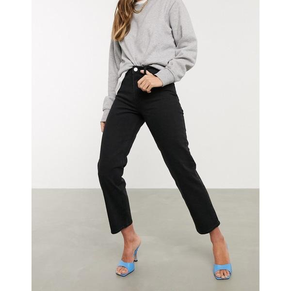 エイソス レディース デニムパンツ ボトムス ASOS DESIGN High rise stretch 'slim' straight leg jeans in black Washed black