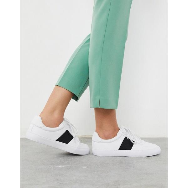 エイソス レディース スニーカー シューズ ASOS DESIGN Dime lace up sneakers in white/black White /black