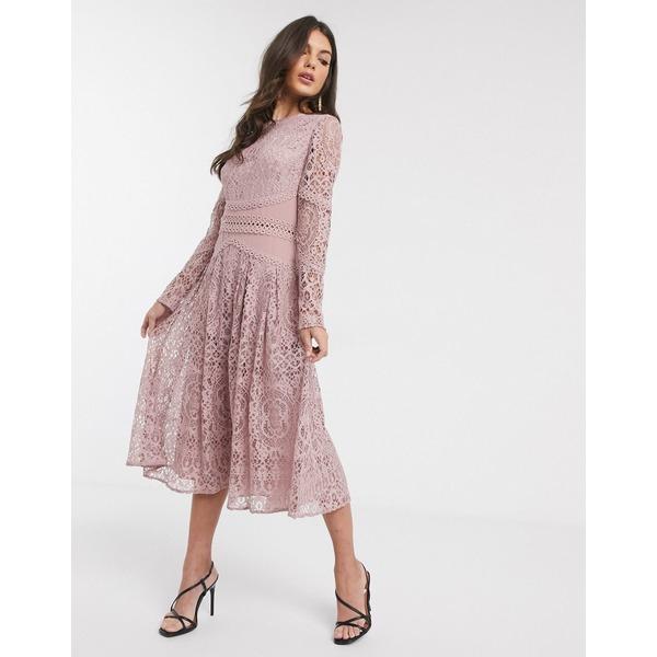 エイソス レディース ワンピース トップス ASOS DESIGN long sleeve prom dress in lace with circle trim details Dusty rose