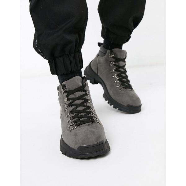 エイソス メンズ ブーツ&レインブーツ シューズ ASOS DESIGN Wide Fit hiker boots in gray faux suede Gray