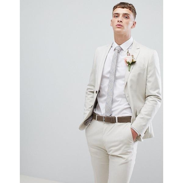 モスブロス メンズ ジャケット&ブルゾン アウター Moss London skinny suit jacket in stone Iced latte