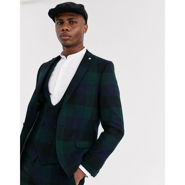 ツイステッドテイラー メンズ ジャケット&ブルゾン アウター Twisted Tailor Ashby super skinny fit suit jacket in block green check Green