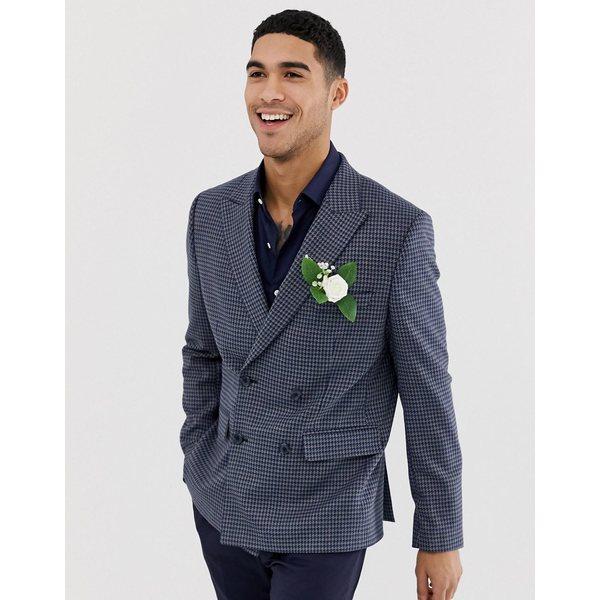 エイソス メンズ ジャケット&ブルゾン アウター ASOS DESIGN wedding slim double breasted blazer in wool mix with blue houndstooth check Blue