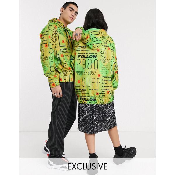 コリュージョン レディース パーカー・スウェットシャツ アウター COLLUSION Unisex typo print hoodie Green