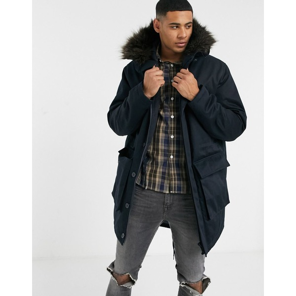 エイソス メンズ ジャケット&ブルゾン アウター ASOS DESIGN parka jacket with quilted lining in black Black