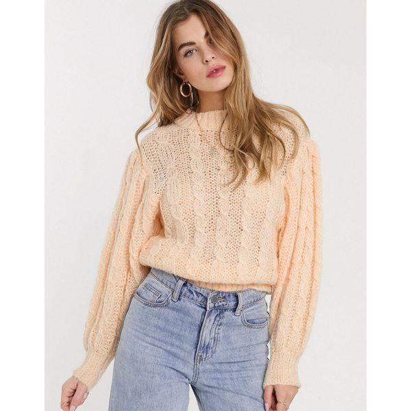 エイソス レディース ニット&セーター アウター ASOS DESIGN cable sweater in lofty knit Pale peach