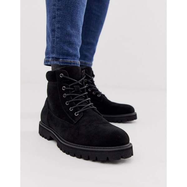 エイソス メンズ ブーツ&レインブーツ シューズ ASOS DESIGN lace up boot in black faux suede with padded cuff detail Black