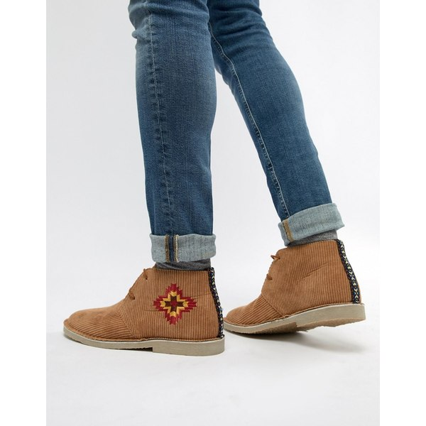 エイソス メンズ ブーツ&レインブーツ シューズ ASOS DESIGN desert boots in tan cord with embroidery detail Tan
