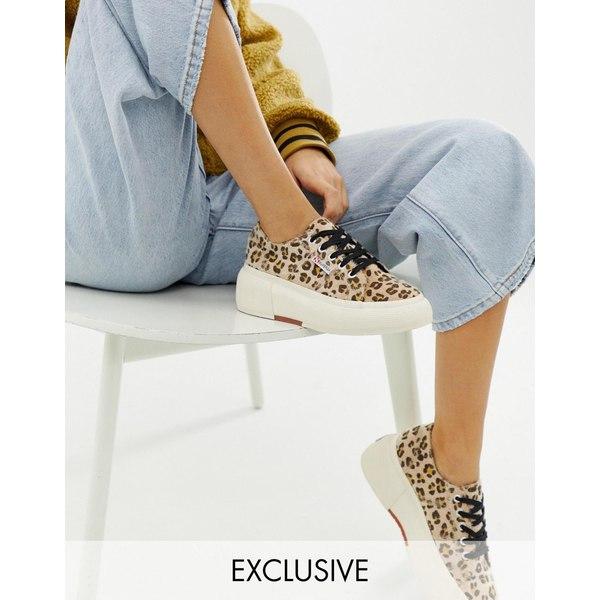 スペルガ レディース スニーカー シューズ Superga 2287 exclusive leopard faux pony wedge sneakers Leopard