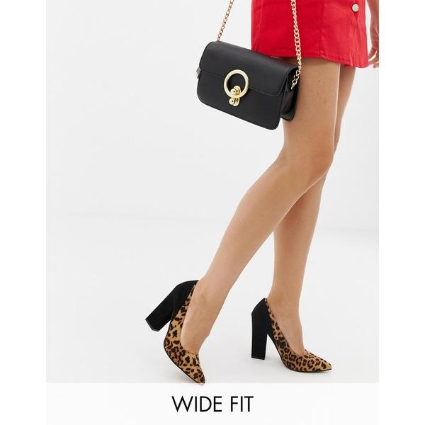 エイソス レディース ヒール シューズ ASOS DESIGN Wide Fit Washington block heeled pumps in leopard and black Leopard/black
