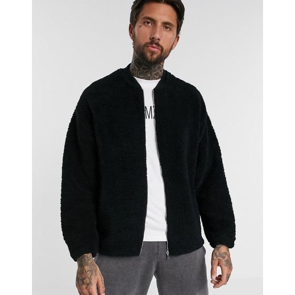 エイソス メンズ ジャケット&ブルゾン アウター ASOS DESIGN oversized bomber jacket in black teddy borg Black
