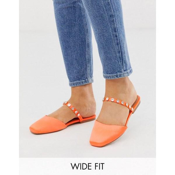 エイソス レディース サンダル シューズ ASOS DESIGN Wide Fit Lulu embellished mules in orange Orange satin