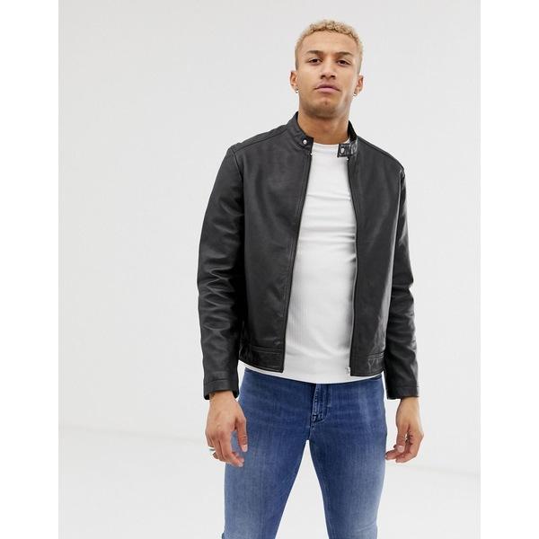 エイソス メンズ ジャケット&ブルゾン アウター ASOS DESIGN leather racing biker jacket in black Black