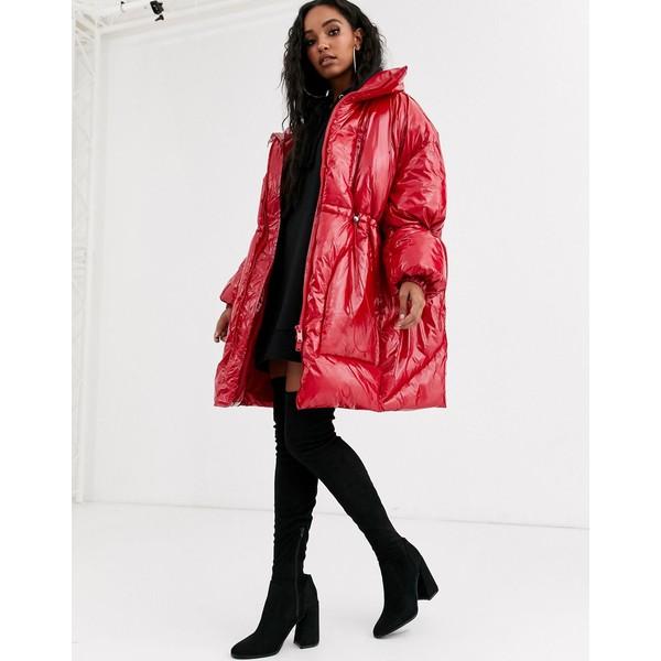 シックスジュン レディース ジャケット&ブルゾン アウター Sixth June oversized longline padded jacket in vinyl Red