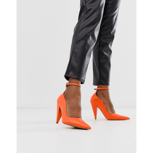 エイソス レディース ヒール シューズ ASOS DESIGN Producer premium leather high heeled pumps in bright coral Bright coral