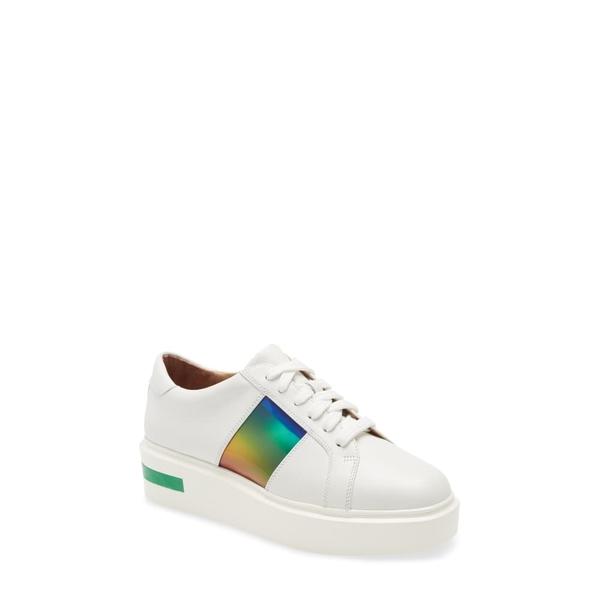リネアパウロ レディース スニーカー シューズ Karis Platform Sneaker White/ Green Leather