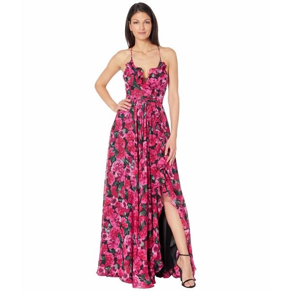 日本最級 ベッツィ アンド アダム レディース ワンピース トップス Long Black/Pink Printed トップス Long Chiffon Ruffle Gown Black/Pink, arne(インテリア家具と雑貨):fb65df44 --- superbirkin.com