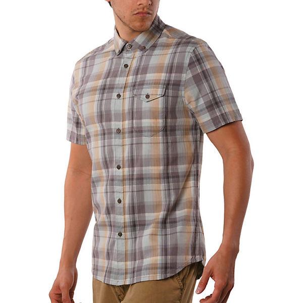 ジェレミア メンズ シャツ トップス Jeremiah Men's Cecil Herringbone Plaid SS Shirt Blue Oasis