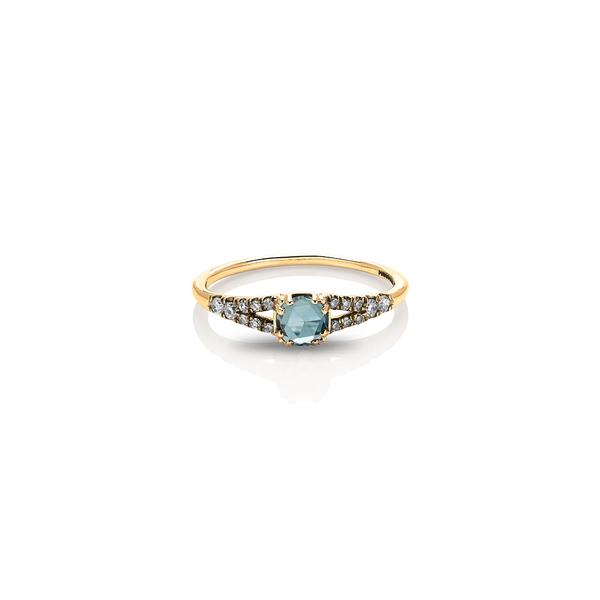 マニアマニア レディース リング アクセサリー Devotion Solitaire Diamond Ring Yellow Gold/ Aquamarine