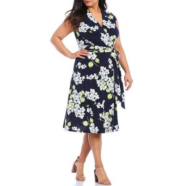ロンドンタイムス レディース ワンピース トップス Plus Size Floral Print Faux Wrap Jersey Midi Dress Navy/Blue