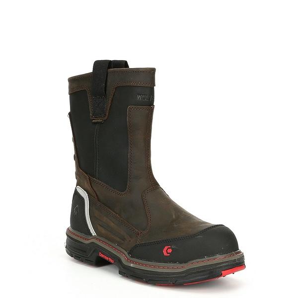 ウルヴァリン メンズ ブーツ&レインブーツ シューズ Men's Overman Waterproof Composite-Toe Slip Resistant Work Boot Brown/Black