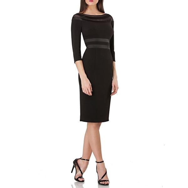 ジェイエスコレクションズ レディース ワンピース トップス Illusion Neck Sheath Dress Black