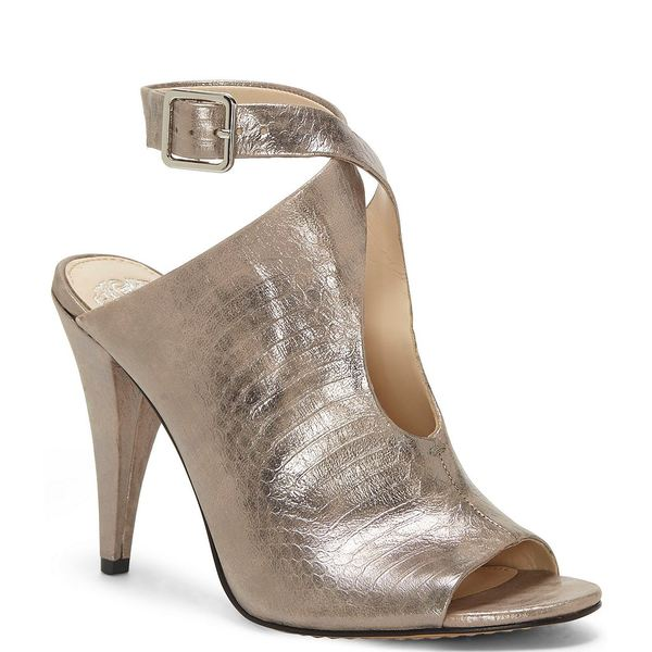 ヴィンスカムート レディース ブーツ&レインブーツ シューズ Aveeria Tear Drop Metallic Leather Snake Print Cone Heel Peep Toe Shooties Pewter