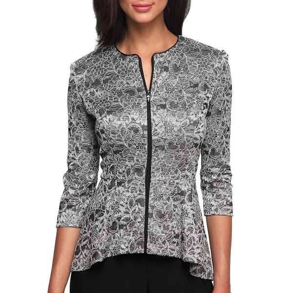 アレックスイブニングス レディース ワンピース トップス Printed Lace Zip-Front Jacket Black/Silver