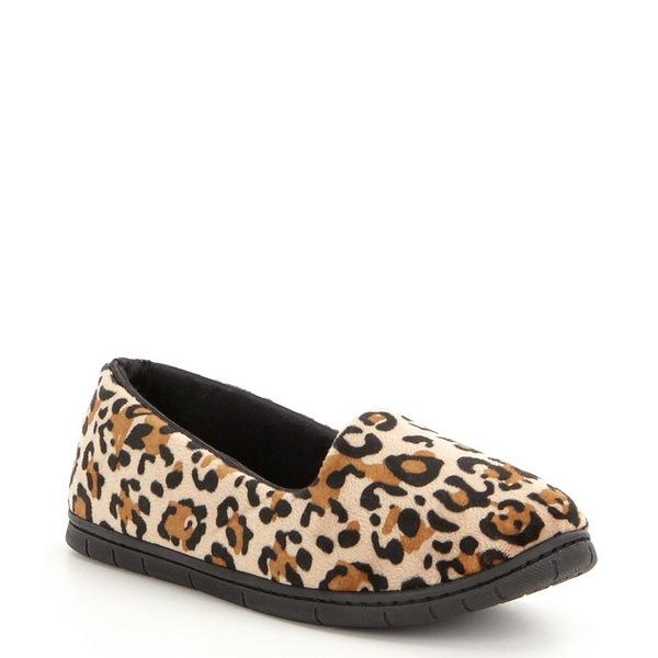 カベルネ レディース サンダル シューズ Leopard-Print Microfiber Velour Moccasin Slippers Leopard
