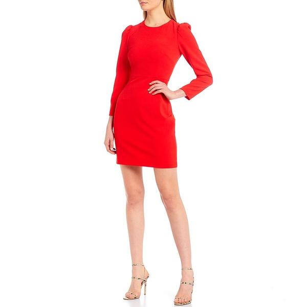 エリザジェイ レディース ワンピース トップス Ruched Shoulder Bow Back Mini Sheath Dress Red