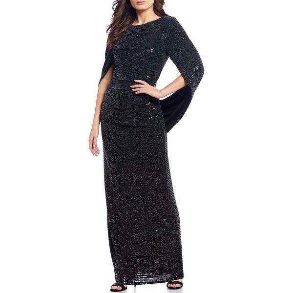 アールアンドエムリチャーズ レディース ワンピース トップス Drape Back Metallic Allover Sequin Gown Black