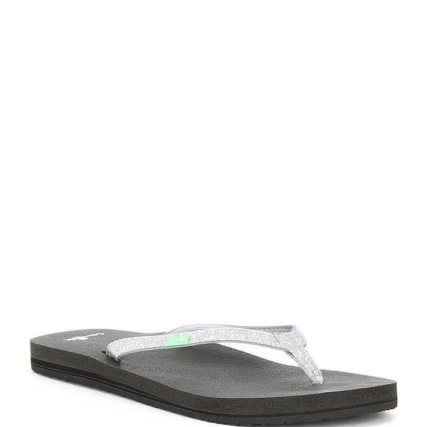 サヌーク レディース サンダル シューズ Yoga Joy Sparkle Flat Flip Flops Silver Sparkle